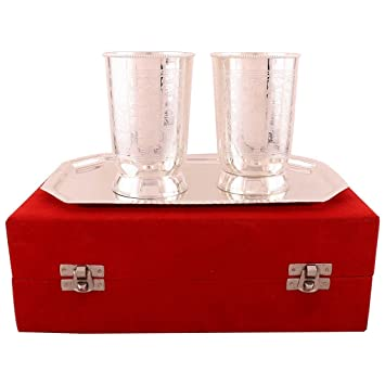 3f3b512e2f42 Buy Craft Trade Wine Glass Set Handmade Embosses German Silver with Red  Velvet Box Online at Low Prices in India - Amazon.in