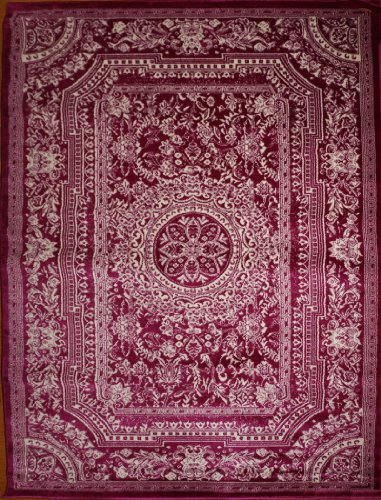 Feraghan/New City Traditional French Floral Wool Persian Area Rug, 8' x 10', Purple Plum