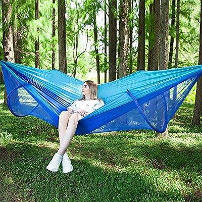 Hamaca para acampar con mosquitera (250 x 120 cm), hamacas de paracaídas dobles portátiles ultraligeras, hamaca para dormir con hamaca para dos personas para jardín al aire libre en interiores: Amazon.es: Deportes