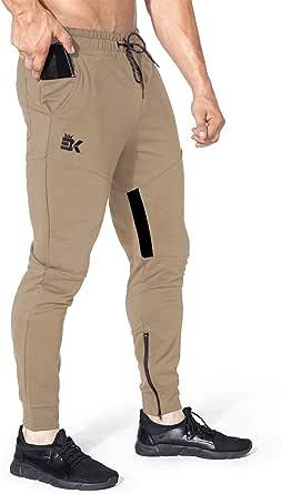 BROKIG Men Stripe Gym Joggers Pants, Causal Slim fit Tapered Workout Training Sweatpants with Zipper Pocket