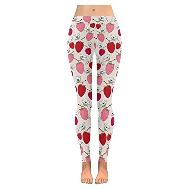 b406dbea802f0 InterestPrint pink strawberries womens Low Rise yoga plus size ...