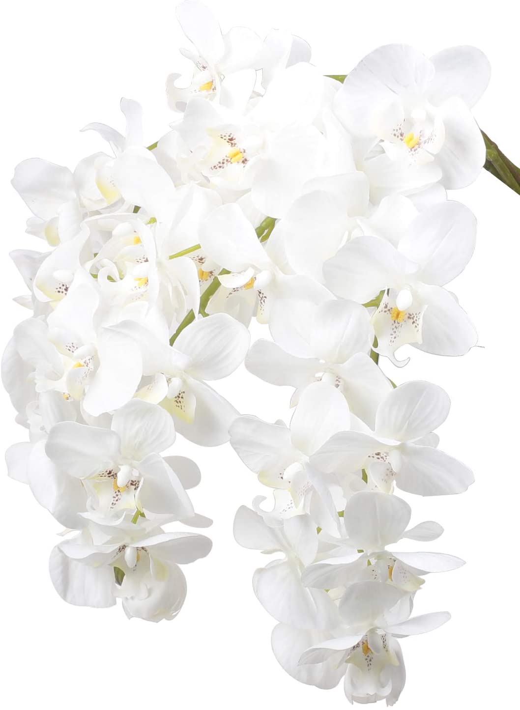Ivalue 28 Artificial Orchid Flower Stem Plants Pack Of 4 Real Touch White Simulation Butterfly Phalaenopsis Flowers For Home Wedding Party Decoration 4 White Orchid Amazon Co Uk Kitchen Home