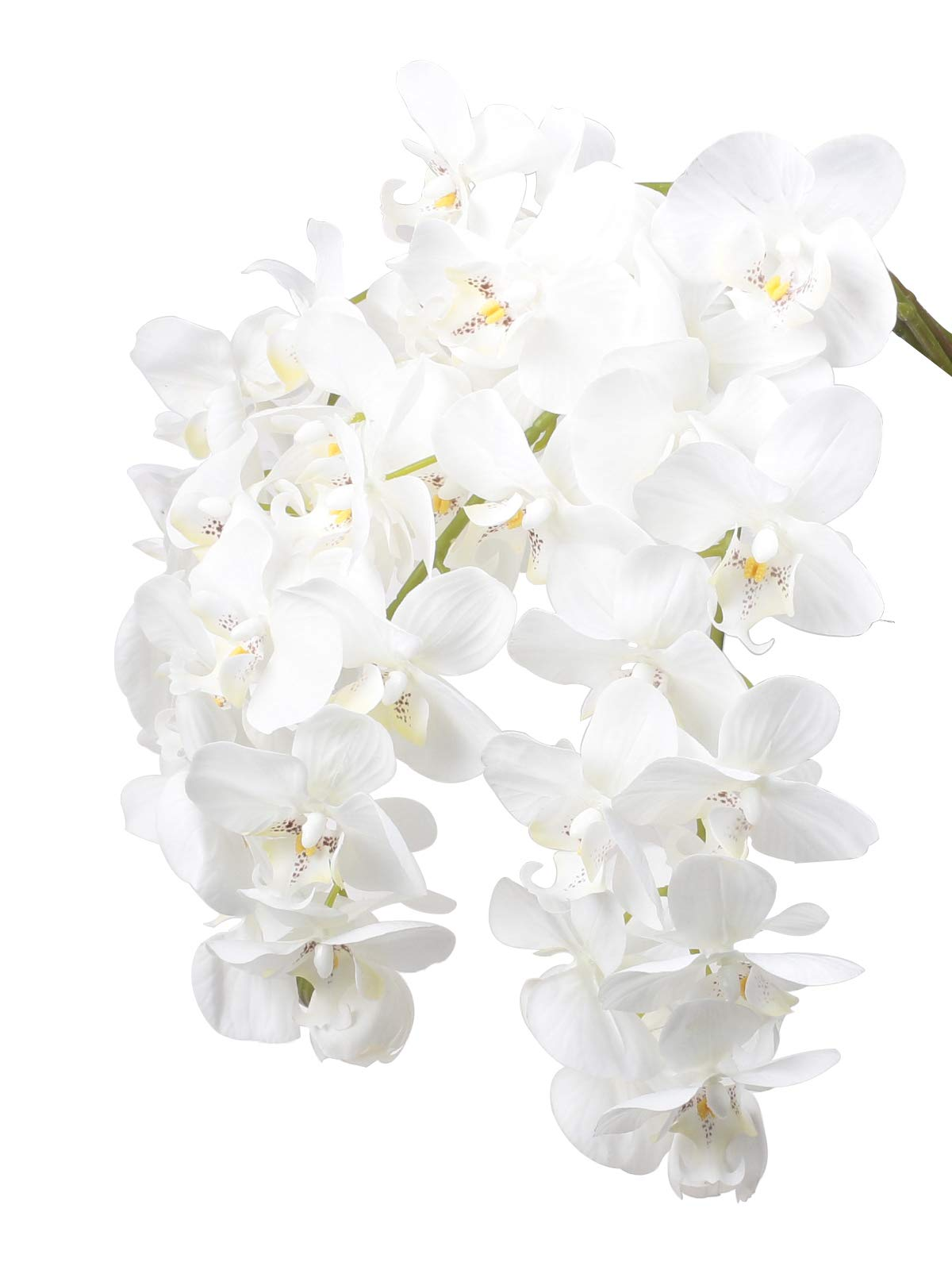 """silk flower arrangements ivalue 28"""" artificial orchid flower stem plants pack of 4 real touch white simulation butterfly phalaenopsis flowers for home wedding party decoration (4, white orchid)"""