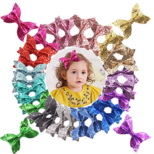 30PCS 4Inch Hair Bows Alligator Hair Clips Sparkly Glitter Pigtail Hair Bows in PairlsHair Accessories for Baby Girls Toddlers Kids Children Teens