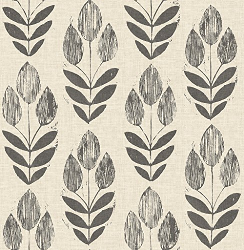 Chesapeake 3115-24474 Garland Black Block Tulip Wallpaper,