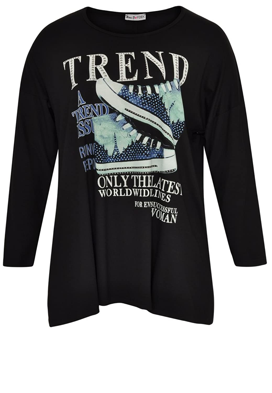 Yoek Damen Langarmshirt mit Druck Plus Size