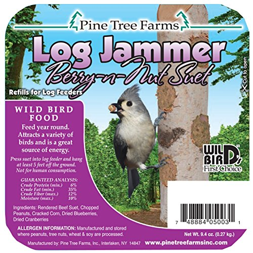 Pine Tree Farms 5003 Log Jammers Berry N Nut Suet Plug Suet 9.4oz. (0.27 kg.) (Bird Food Suet compare prices)