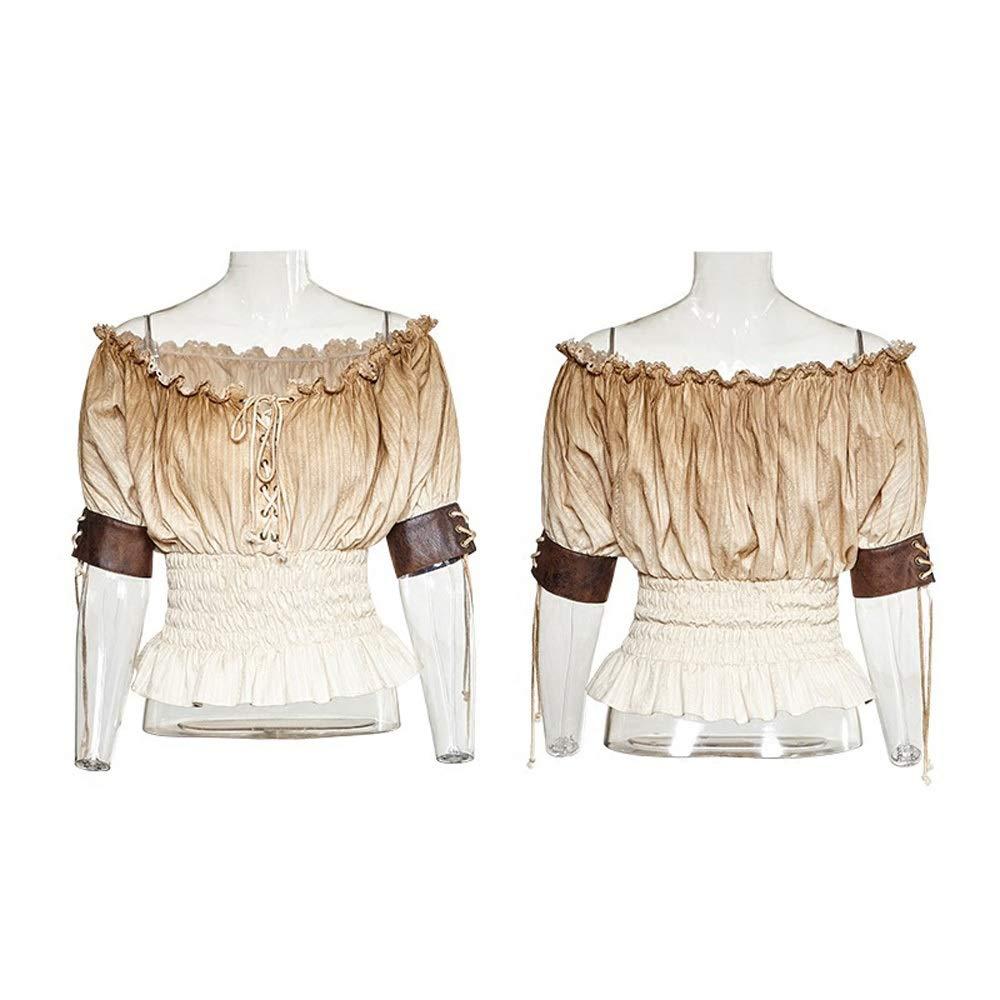 Steampunk Short-sleeved Shirt, Vintage Gothic Steampunk Leather Corset, Women's Corset White Shirt Suit, Women's Gothic Steampunk Lace T-Shirt Top Victorian Blouse, T-shirt ( Size : XL-2XL )