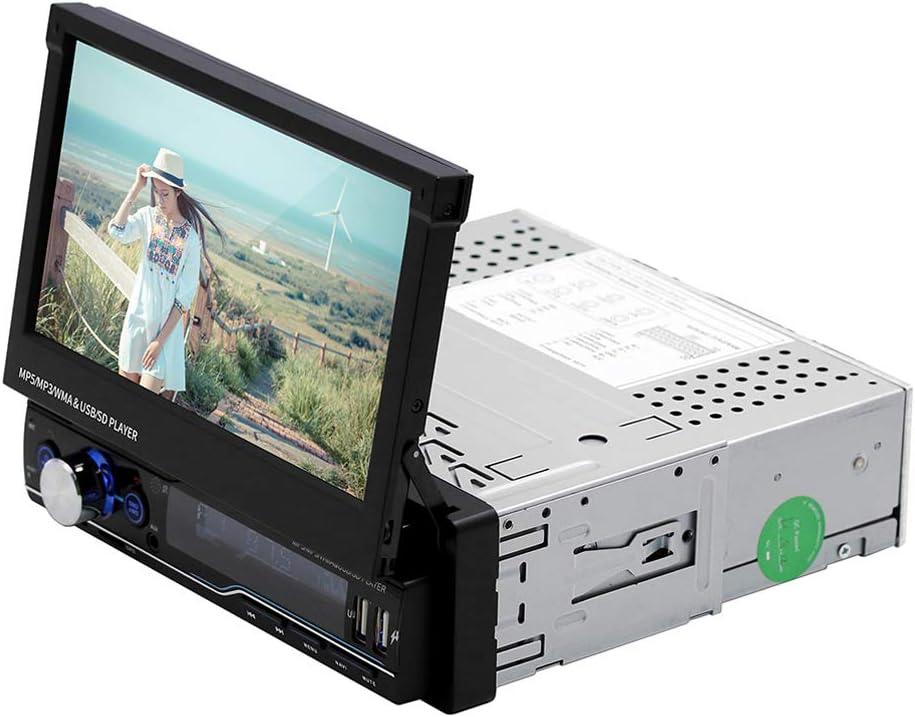 XMAGG® Radio Coche Bluetooth Reproductor de Mp5,7 Pulgadas 1 DIN In-Dash Wince Autoradio Estéreo Retráctil del Coche Pantalla Tactil Capacitiva GPS Navegador Reproductor MP5 para Coche Support FM