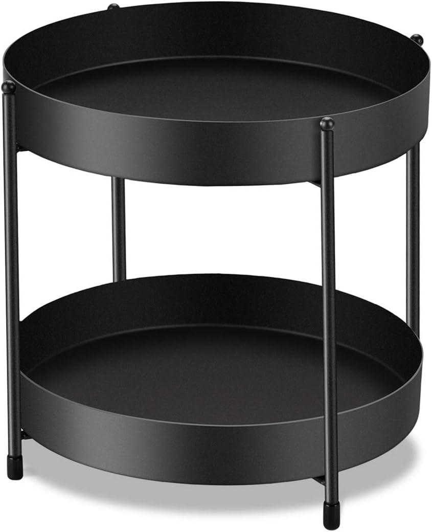 2-Tier Bathroom Countertop Organizer Decorative Tray Vanity Tray Cosmetic & Makeup Storage Standing Shelf, Black