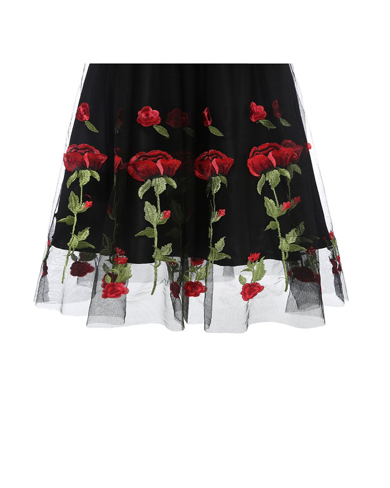 Aofur Women's Vintage Style Rose Embroidered 1950s Rockabilly Evening Party Lace Swing Tea Dress A Line Dresses (XX-Large, Black_Red_Rose) by Aofur (Image #7)