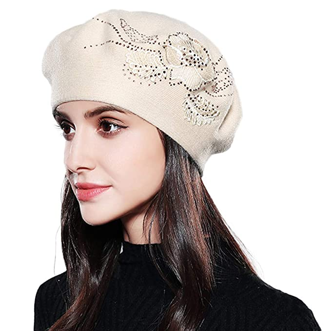 Image Unavailable. Image not available for. Color  Womens Knitted Beret hat  ... 91e26412980