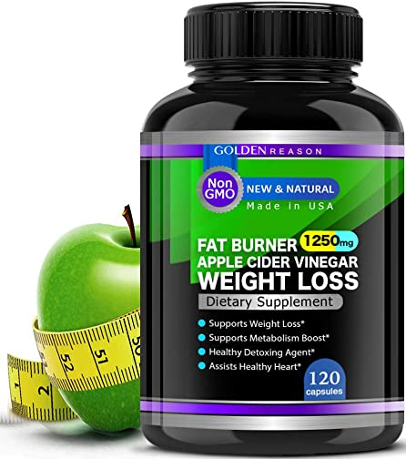 Green Apple Cider Vinegar. Healthy Weight Loss Extra Strength Fat Burner. Non GMO – 120 Capsules. for Women and Men. Made in USA