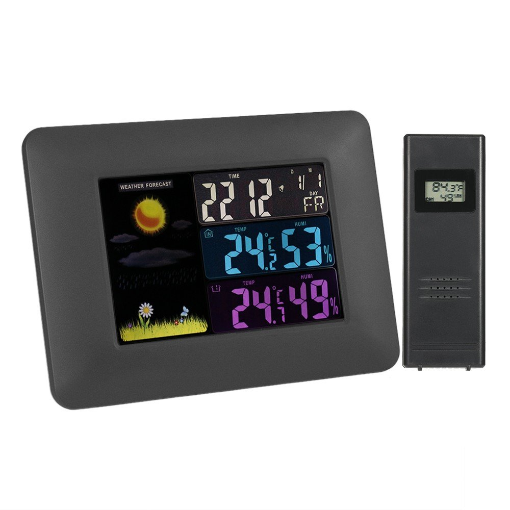 Wosports Weather Station Wireless Digital Color Forecast Remote Sensor Indoor Outdoor Temperature Humidity Monitor Alarm Clock with LED Backlight Multi Function( Black)