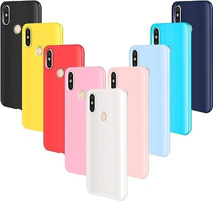 AROYI 9pcs Funda para Xiaomi Mi A2 Lite, Carcasa Protector Ultrafino Silicona TPU Shock-Absorción Anti-rasguños Cover-Negro Rojo Azul Oscuro Rosa Amarillo Azul Morado Azul Claro Traslucido: Amazon.es: Electrónica