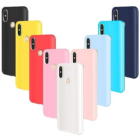 AROYI 9pcs Funda para Xiaomi Mi A2 Lite, Carcasa Protector Ultrafino Silicona TPU Shock-Absorción Anti-rasguños Cover-Negro Rojo Azul Oscuro Rosa ...