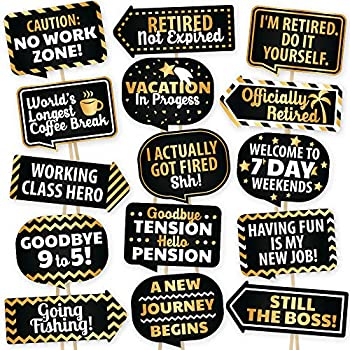 Retirement Photo Booth Props By PartyGraphix - European Made Retirement  Party Supplies - Easy To Assemble Selfie Props - Retirement Party  Decorations