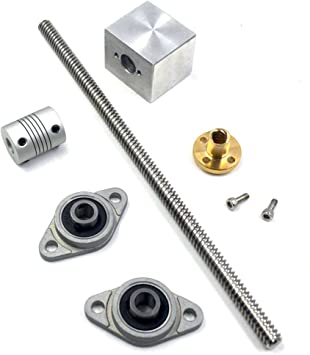 CNBTR 200mm Length 8mm Dia Silver Vertical 2mm Lead Screw Rod /& Pillow Block Mounted Bearing for 3D Printer Set of 3