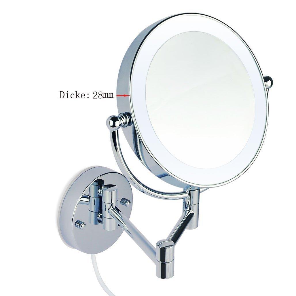 LED Beleuchtet wundersch/öne Kosmetikspiegel 1+10Fach mit Infrarot-Sensor hochwertig ohne Bohren JL58-10-NB 3cm extra dick