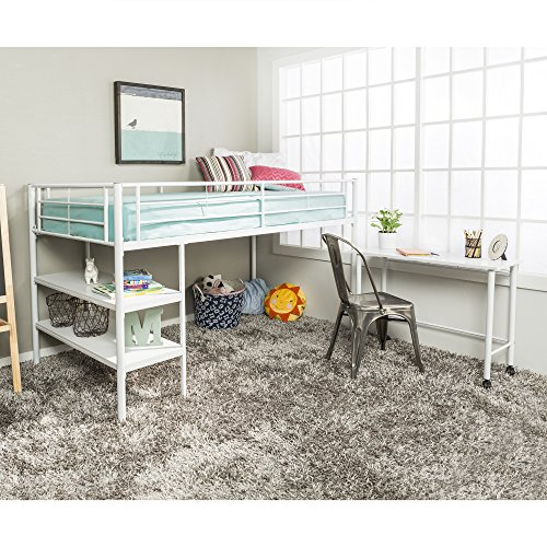 Twin Modern Metal Loft Bed with Desk and Shelves, White Finish (Desk Beds With Loft Low)