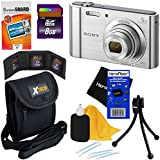 Sony Cyber-shot DSC-W800 20.1 MP Digital Camera with 5x Optical Zoom and Full HD 720p Video, Silver (International Version) + 7pc Bundle 8GB Accessory Kit w/ HeroFiber Ultra Gentle Cleaning Cloth