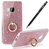 HTC One M9 Case,WIWJ Soft Cover Case 360 Degree Rotating Kickstand Phone Shell with Finger Loop Flexible Protection Smartphone Case Stand Holder Phone Case Sparkle Glitter Case for HTC One M9-Pink