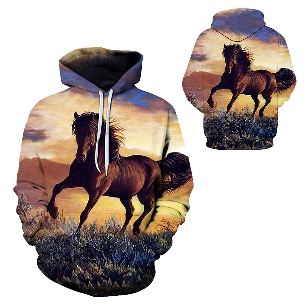Natale Hoodie Hooded,a,3XL weiwei Unisex Donna Uomo Felpa con Cappuccio 3D Animale Cavallo Stampa