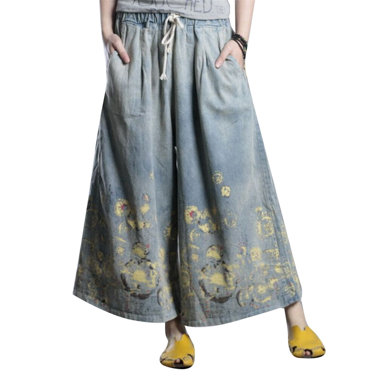 YESNO PD4 Women Casual Loose Denim Cropped Pants Printed Flare Jeans Wide Leg Low Crotch Elastic Waist/Drawstring