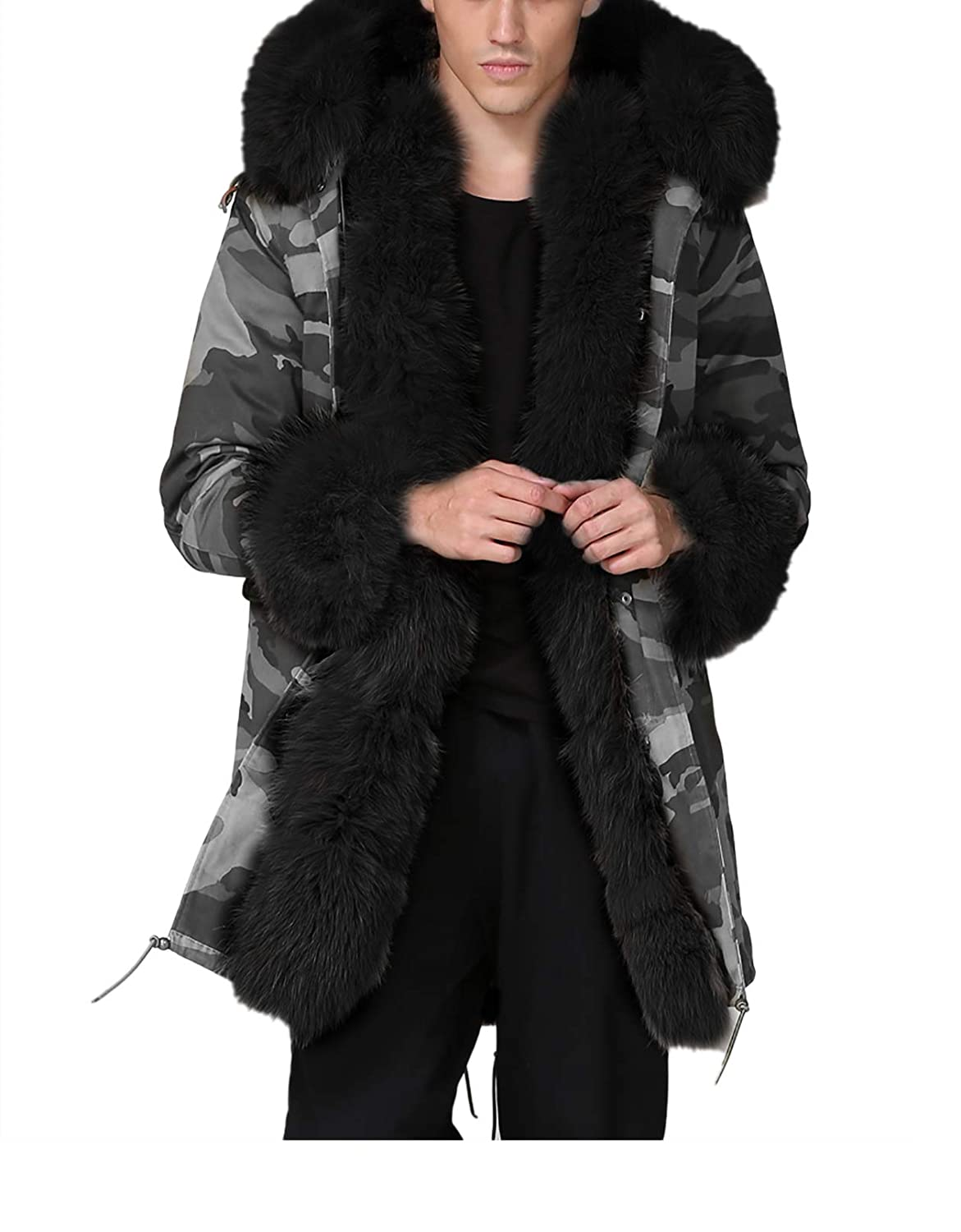 202b1172ec534 Aox Mens Casual Faux Fur Hood Warm Thicken Lined Winter Coat Plus Size  Lightweight Outdoor Jacket Parka  Amazon.co.uk  Clothing