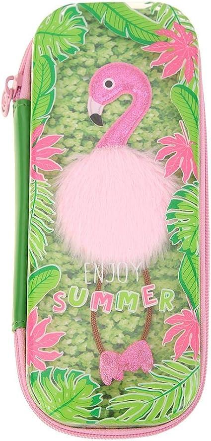 Akaddy - Estuche de goma EVA para lápices, diseño de dibujos animados, color rosa, color verde: Amazon.es: Oficina y papelería