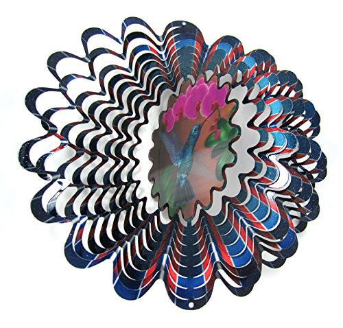 WorldaWhirl Whirligig 3D Wind Spinner Hand Painted Stainless Steel Twister Hummingbird (12
