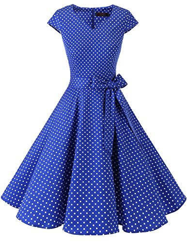 DRESSTELLS Retro 1950s Cocktail Dresses Vintage Swing Dress with Cap-Sleeves Royal Blue Small White Dot S