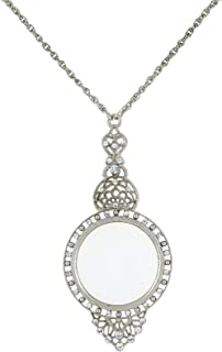 product image for 1928 Jewelry Silver-Tone and Crystal Filigree Magnifying Glass Necklace 30 Inch Long - Magnification Power: 3.5X