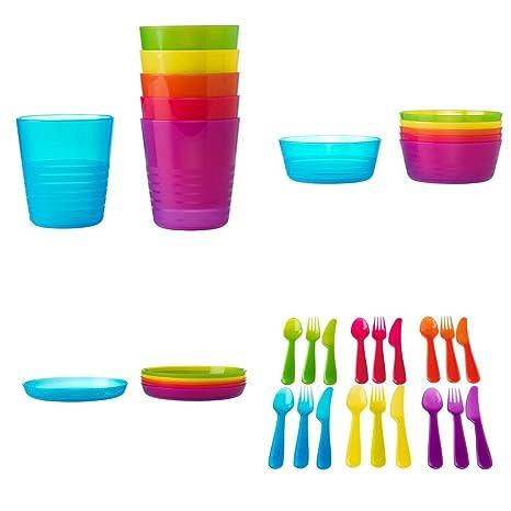 IKEA Juego Cubiertos Plástico 36 Piezas Niños KALAS 6 x Cuchillos 6 x Tenedores 6 x