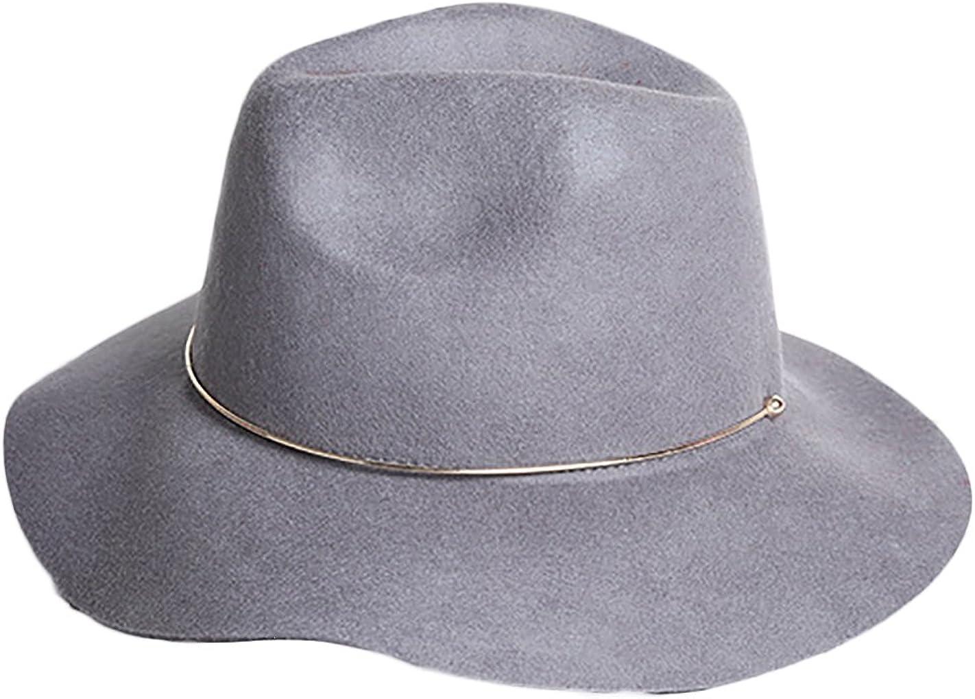 Women/'s 100/% Wool Felt Hat Wide Brim Floppy Fedora Hat Jazz Hats With Metal Belt