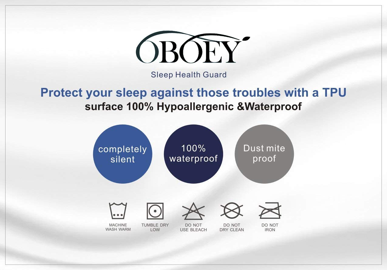 OBOEY Twin Size Premium Mattress Protector 100/% Waterproof Cover Breathable,Cotton Terry Surface Deep Pocket