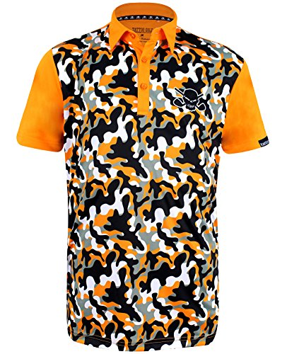 TattooGolf Camo Print ProCool Men's Golf Shirt (Orange) - Small