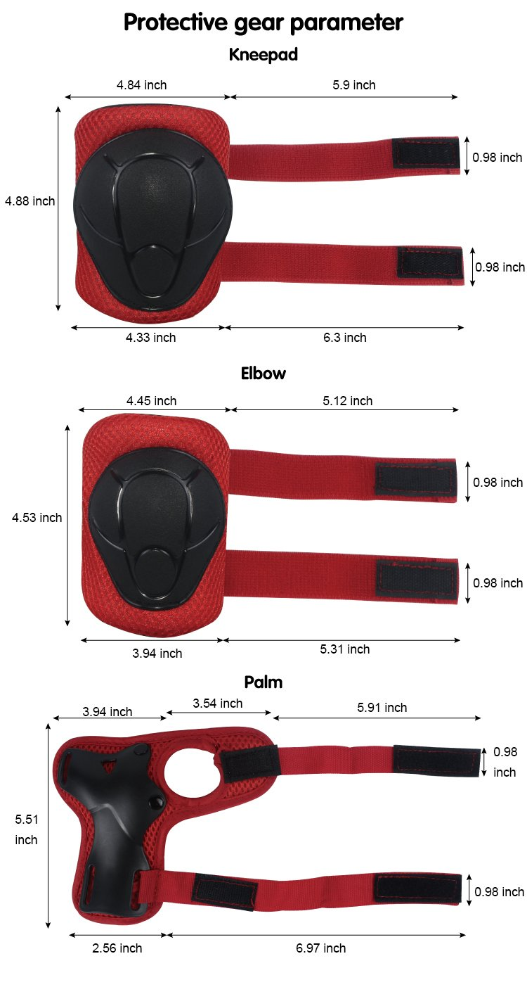 LANOVAGEAR Kids Toddler Cycling Bicycle Protective Gear Set 7pcs Boy Girl Adjustable Helmet Elbow Knee Wrist Pads for Multi Sports Skateboarding Rollerblading Bike (Red, Small) by LANOVAGEAR (Image #8)