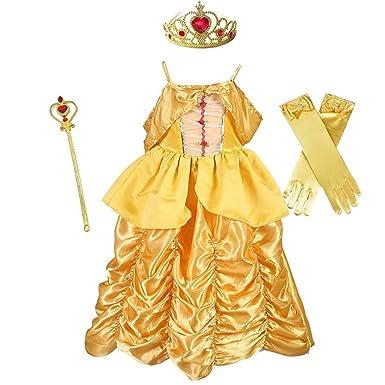 Fanessy Traje de la Bella y la Bestia La niña Vestido de Flores ...