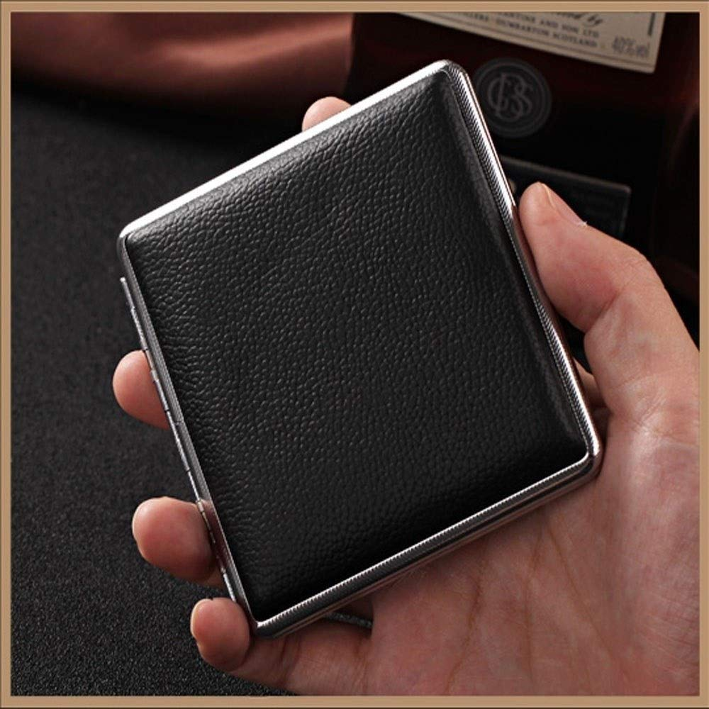 WENPINHUI Metal Cigarette Case, 14/16/20 Cigarette Case, Portable Retro Cigarette Case, Men's Birthday Gift, Ideal Gift for Smokers, Black, (Size : 14 Pieces) by WENPINHUI