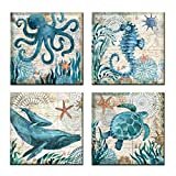 UNIQUELOVER 4pcs Ocean Theme Style Canvas Prints Framed and Stretched Sea Animal Octopus Turtle Seahorse Whale Pictures Posters Bathroom Home Wall Art Decor-12 x 12""