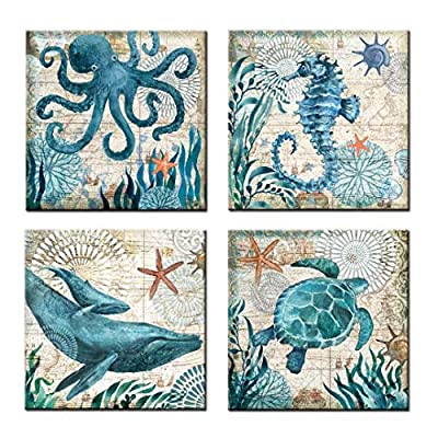"""UNIQUELOVER 4pcs Ocean Theme Style Canvas Prints Framed and Stretched Sea Animal Octopus Turtle Seahorse Whale Pictures Posters Bathroom Home Wall Art Decor-12 x 12"""""""