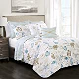 Beach Themed Comforter Sets Lush Decor 7 Piece Harbor Life Quilt Set, King, Blue and Taupe