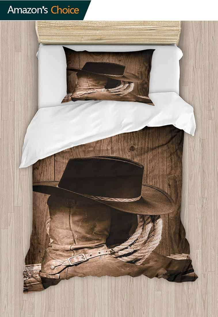 Western DIY Quilt Cover and Pillowcase Set, Wild West Themed Cowboy Hat and Old Ranching Rope On Wooden Display Rodeo Cowboy Style, Reversible Coverlet, Bedspread, Gifts for Girls Women Brown