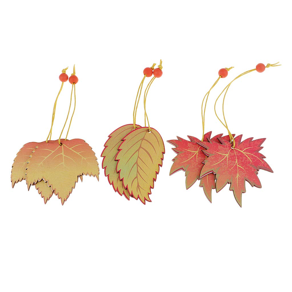 B Baosity 6 Pieces Wooden Maple Leaf Hanging Ornament for Christmas Tree, Wedding Party, DIY Craft, Home Office Shop, Holiday Decorations, Presents and Gifts