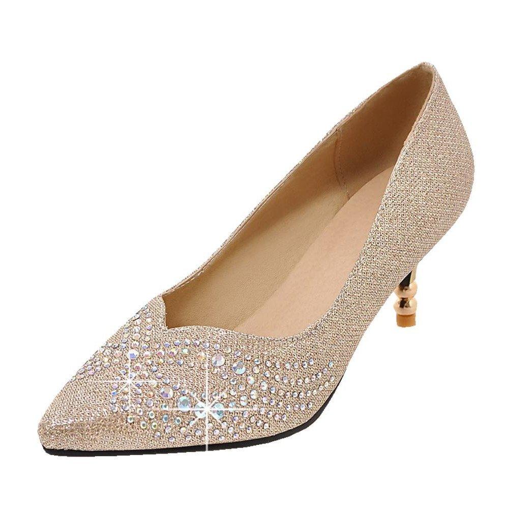 f070b61b709 Agodor Womens Kitten Heel Wedding Glitter Pumps Pointed Toe Bride Shoes Red   Amazon.ca  Shoes   Handbags