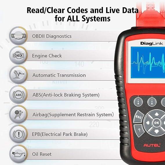 Autel Diaglink® (versión DIY de MD802) Todos los sistemas y módulos de diagnóstico para ABS, SRS, motor, transmisión, EPB y reseteo de Aceite: Amazon.es: ...