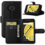 Moto E 2nd Gen Case, HualuBro [Kickstand] [All Around Protection] Premium PU Leather Wallet Flip Phone Protective Case Cover with Card Slot for Motorola Moto E 2nd Generation (E2) 2015 Smartphone