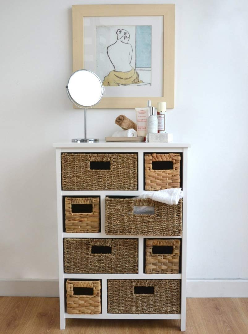 Tetbury Large White Storage Chest of Drawers. Sturdy white basket storage unit. Bathroom, hallway storage ASSEMBLED Statement Furniture