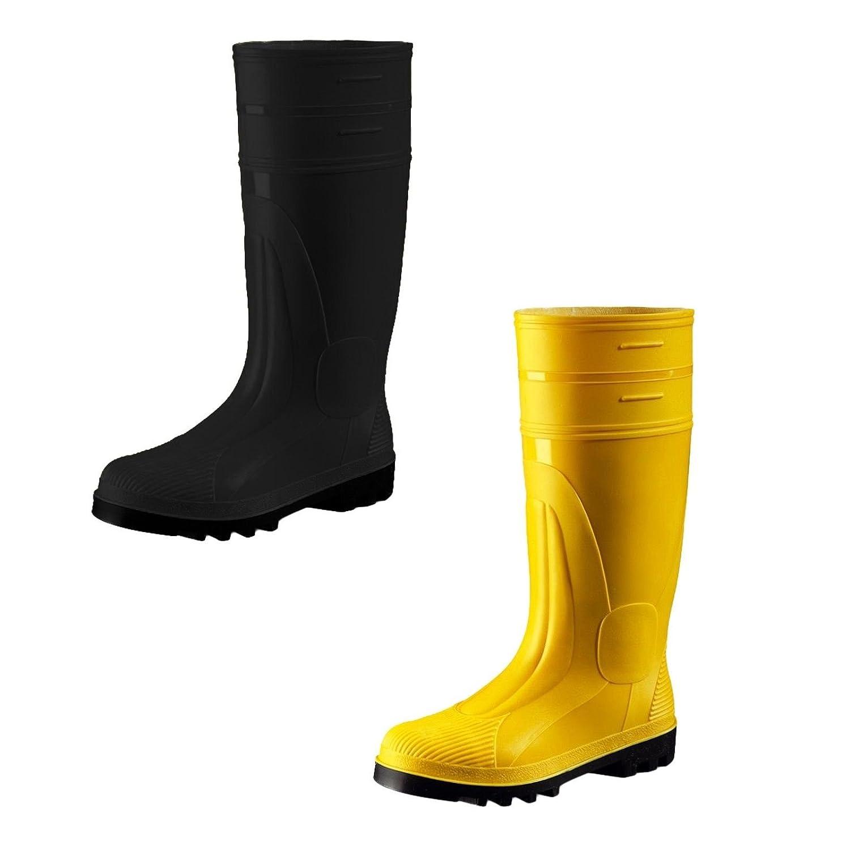 ATS S5 Sicherheitsstiefel Schwarz Gelb Gr. 39-50 Baustiefel Unisex, PVC Gummistiefel Stiefel mit Stahlkappe